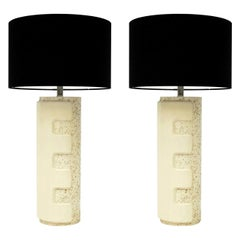 Pair of Large 1970s Brutalist Ceramic Cylinder Table Lamps