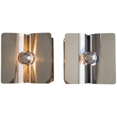 Pair of Large 1970s Large Pop Art Guzzini Metal Chrome Sconces