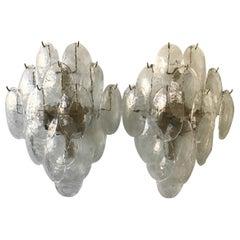 Pair of Large 1970s Mazzega Glass Sconces