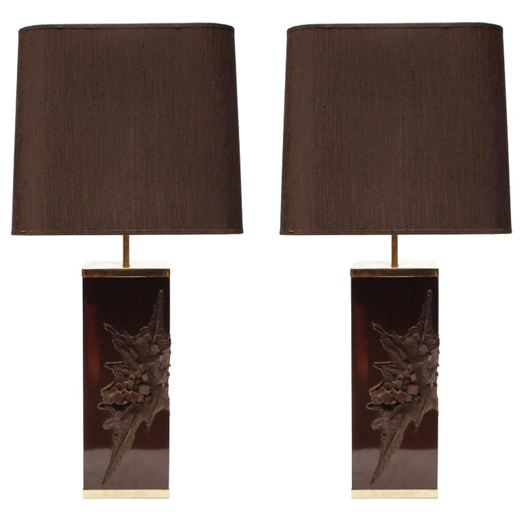 Pair of Large Philippe Cheverny Cast Resin Lamps with Shades, 1970s For Sale