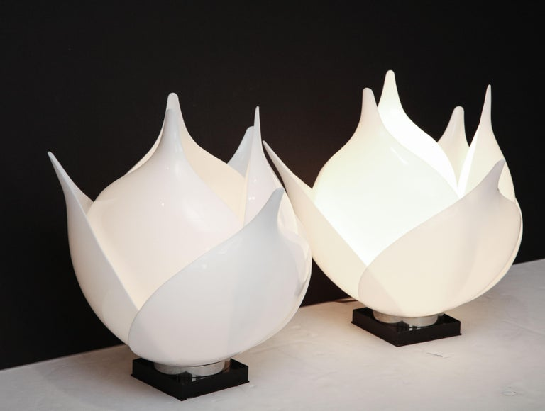 Mid-Century Modern Pair of Large 1980s Rougier Lamps For Sale