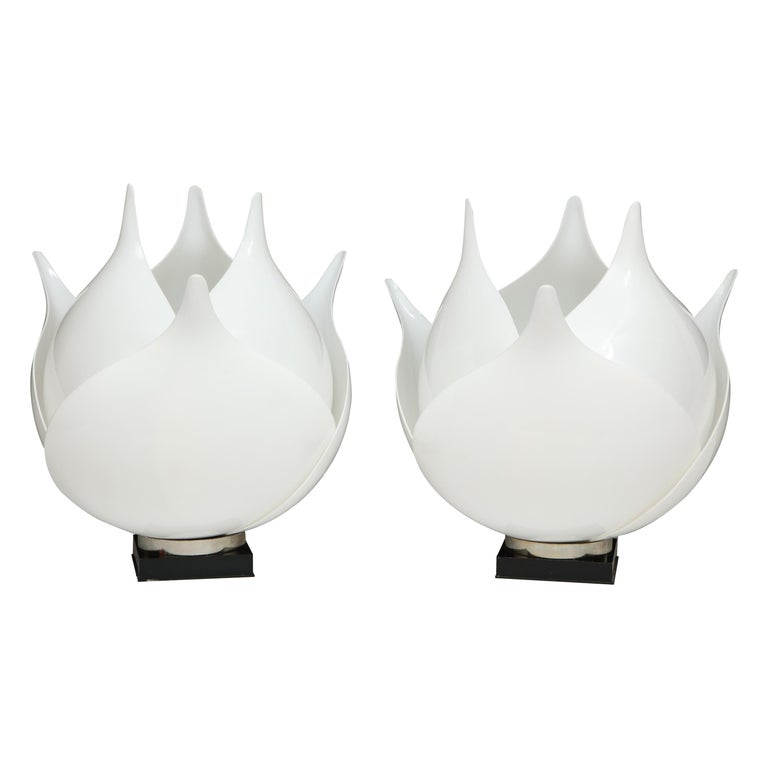 Pair of Large 1980s Rougier Lamps For Sale