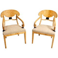 Pair of Large 19th Century Empire Style Swedish Birch Side Chairs by Karl Johan