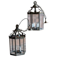 Pair of Large 19th Century French Brass Hexagonal Lanterns