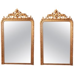 Pair of Large 19th Century French Louis XV Gilt Mirrors