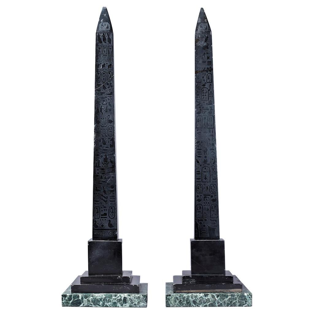 Pair of Large 19th Century Italian Grand Tour Black Marble Nero Antico Obelisks