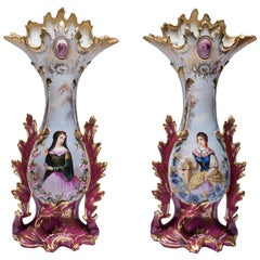 Pair of Large 19th Century Old Paris Porcelain Vases with Young Ladies