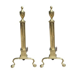 Pair of Large 19th Century or Earlier American Federal Style Brass Andirons