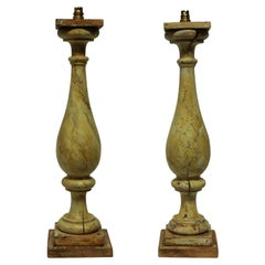 Pair of Large 19th Century Painted Balustrade Lamps