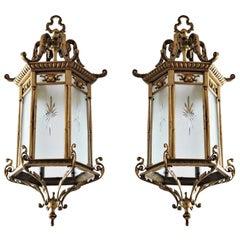 Pair of Large 19th Century Regency Style Bronze Cut-Glass Three-Light Lanterns