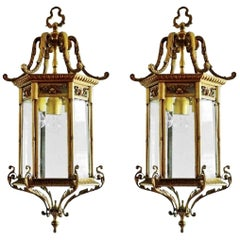 Pair of Large 19th Century Regency Style Bronze Faceted Glass Lanterns