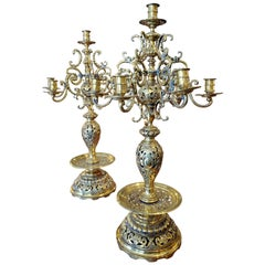 Large Pair of 19th Century Russian Brass Candelabra with Turkish Influence
