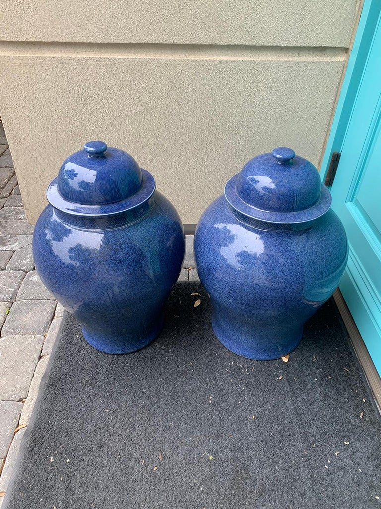 Pair of Large 20th Century Chinese Blue Porcelain Lidded Ginger Jars 7