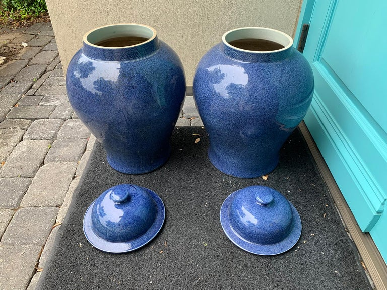 Pair of Large 20th Century Chinese Blue Porcelain Lidded Ginger Jars 10