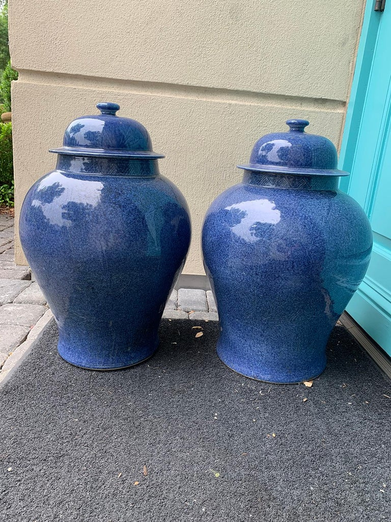 Pair of large 20th century Chinese blue porcelain lidded ginger jars.