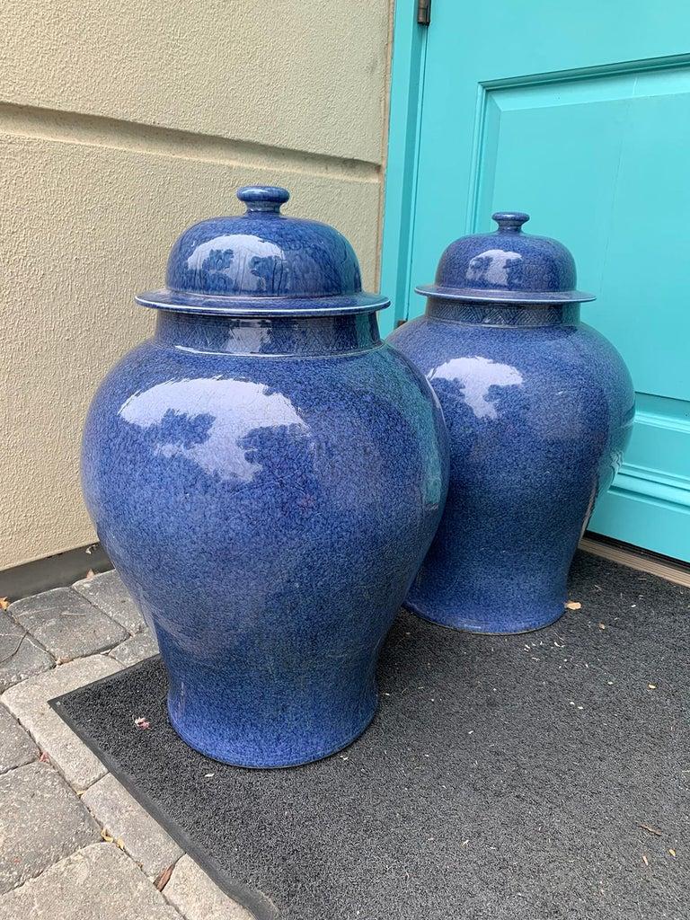 Glazed Pair of Large 20th Century Chinese Blue Porcelain Lidded Ginger Jars