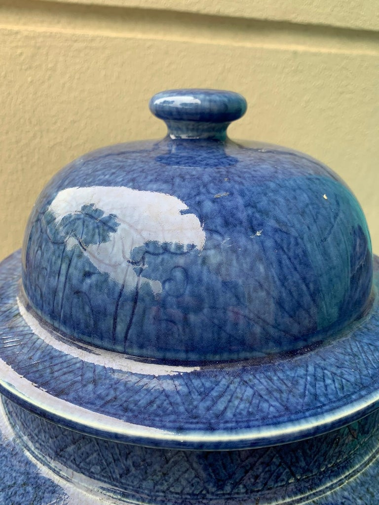 Pair of Large 20th Century Chinese Blue Porcelain Lidded Ginger Jars 1
