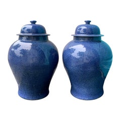 Pair of Large 20th Century Chinese Blue Porcelain Lidded Ginger Jars