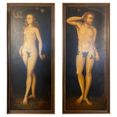 Pair of Large Adam and Eve Paintings