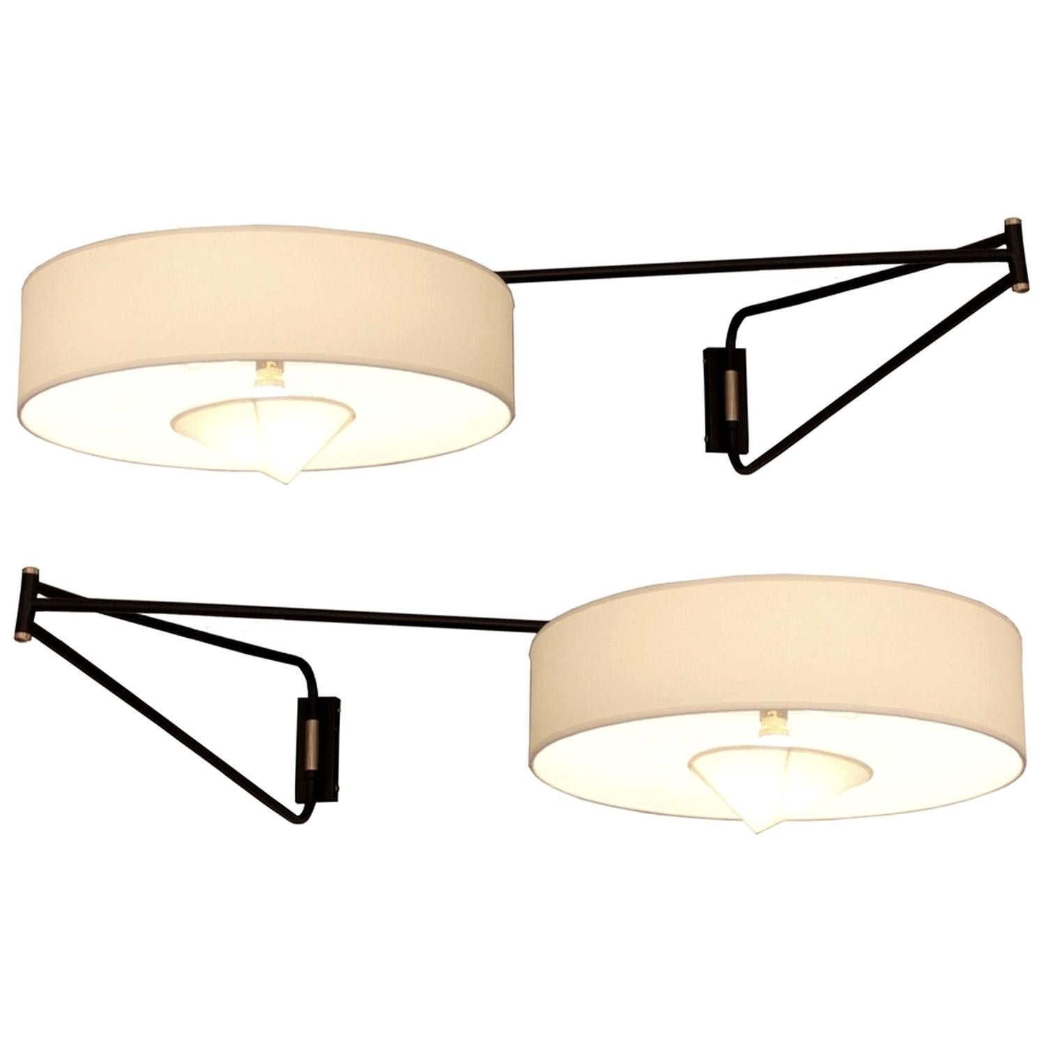 Pair of Large Adjustable and Foldable Wall Lights by Arlus, France, circa 1950