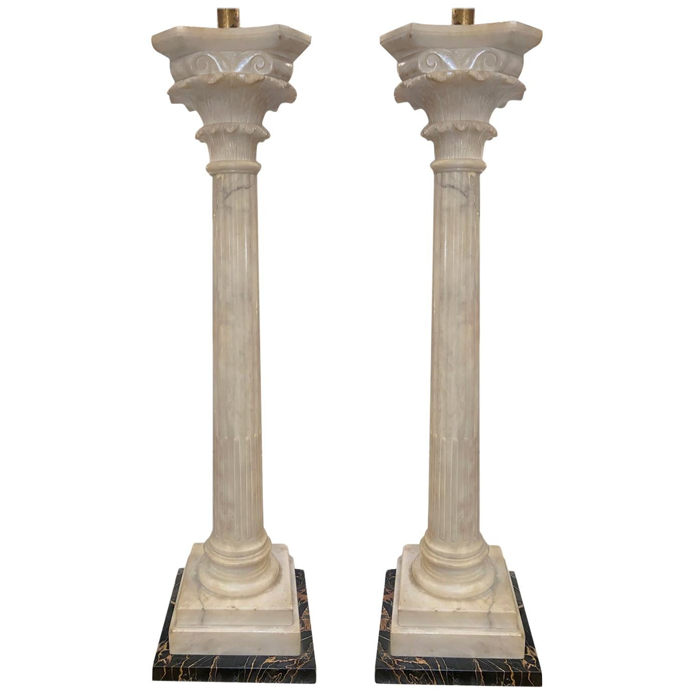 Pair of Large Alabaster Column Table Lamps