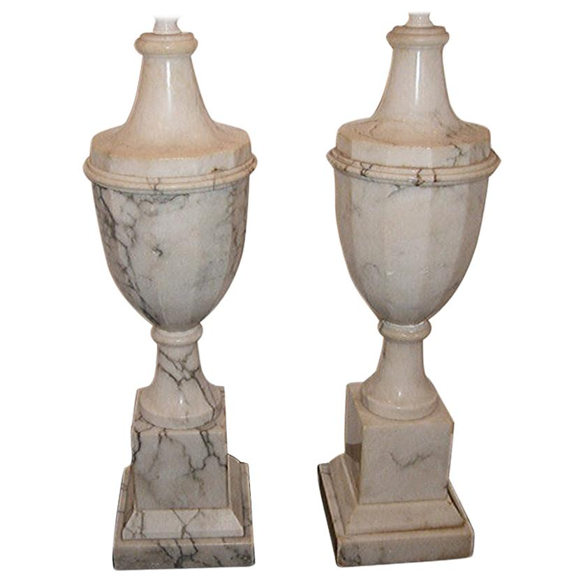 Pair of Large Alabaster Lamps