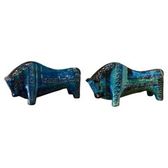 Pair of Large Aldo Londi Bitossi Rimini Blue Bulls Italy, 1960s