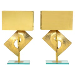 Pair of Large All Brass Sculptural Lamps with Brass Lampshades, Italy