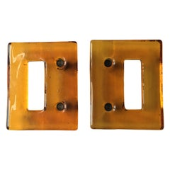 Set of Two Large Amber Art Glass Door Handles, 20th Century European