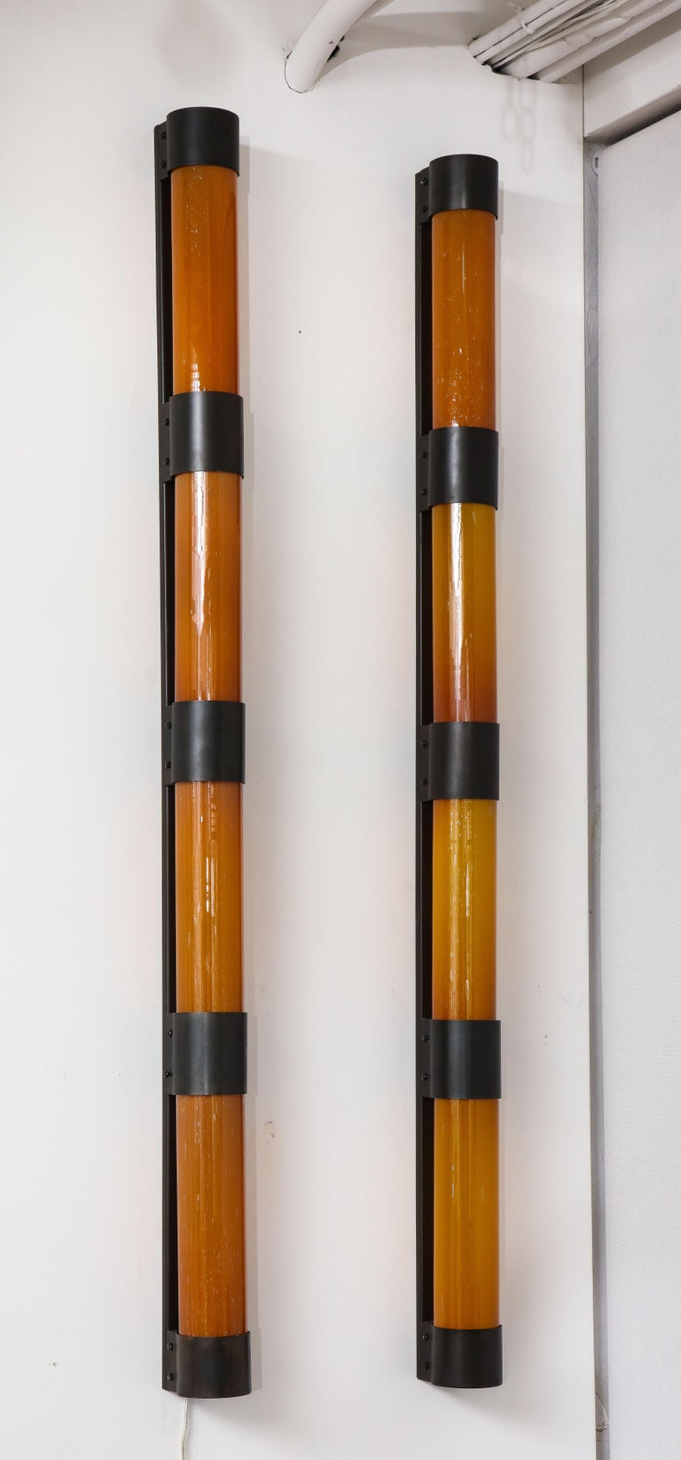 Modern Pair of Large Amber Glass Sconces by Savoy Studios, '4 Pairs Available' For Sale