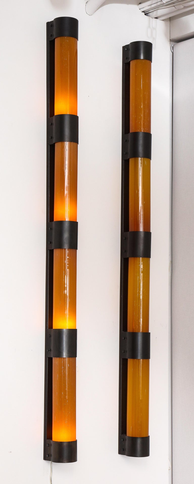 American Pair of Large Amber Glass Sconces by Savoy Studios, '4 Pairs Available' For Sale