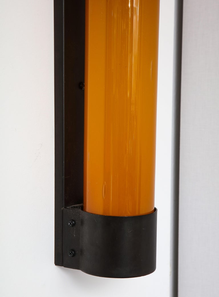 Pair of Large Amber Glass Sconces by Savoy Studios, '4 Pairs Available' For Sale 2