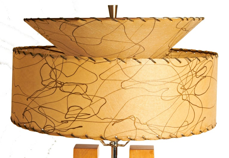 Carved Pair of Large American Mid-Century Modern Blonde Wood and Chrome Console Lamps For Sale