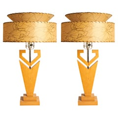 Pair of Large American Mid-Century Modern Blonde Wood and Chrome Console Lamps