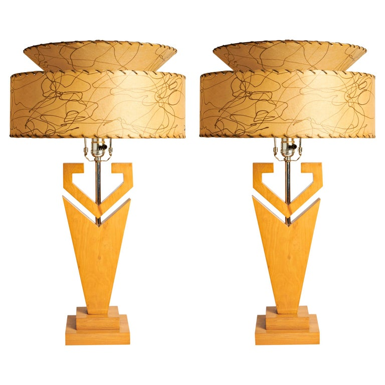 Pair of Large American Mid-Century Modern Blonde Wood and Chrome Console Lamps For Sale