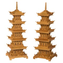 Pair of Large and Dramatic Pine Pagodas