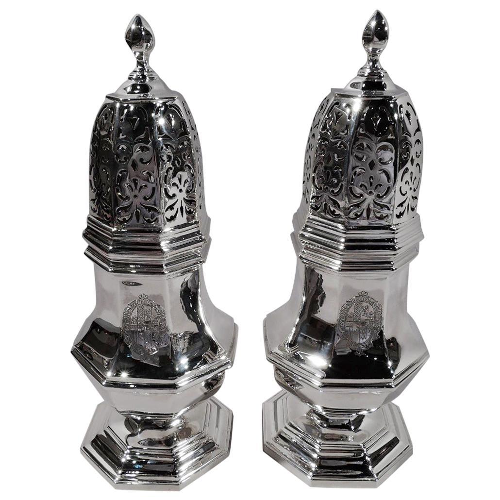 Pair of Large and Heavy English Sterling Silver Sugar Casters