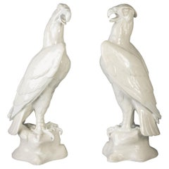 Pair of Large and Unusual Continental Porcelain Eagles, circa 1875