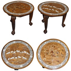 Pair of Large Anglo-Indian Hardwood Side Tables Depicting Elephants Rural Scene