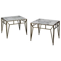 Pair of Large Angulaire Marble Side Tables