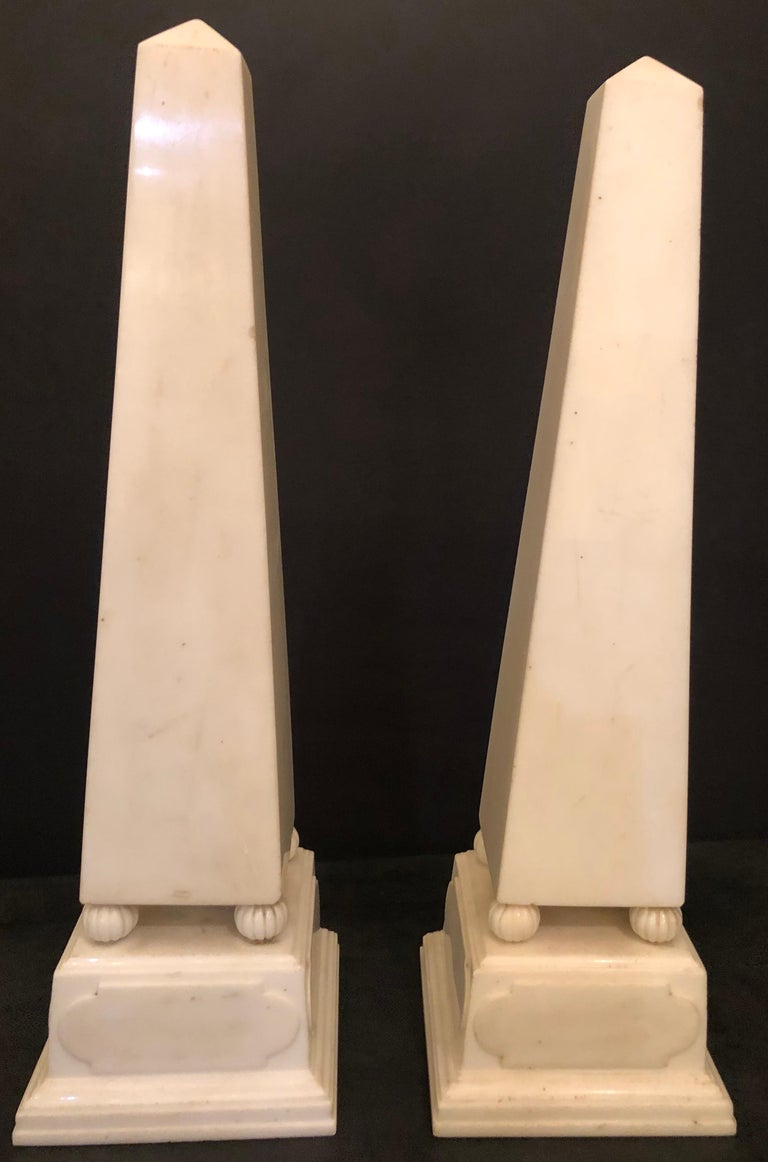 Pair of Palatial antique 19th-20th century solid marble obelisks on pedestals. The obelisks detach from the pedestal bases.