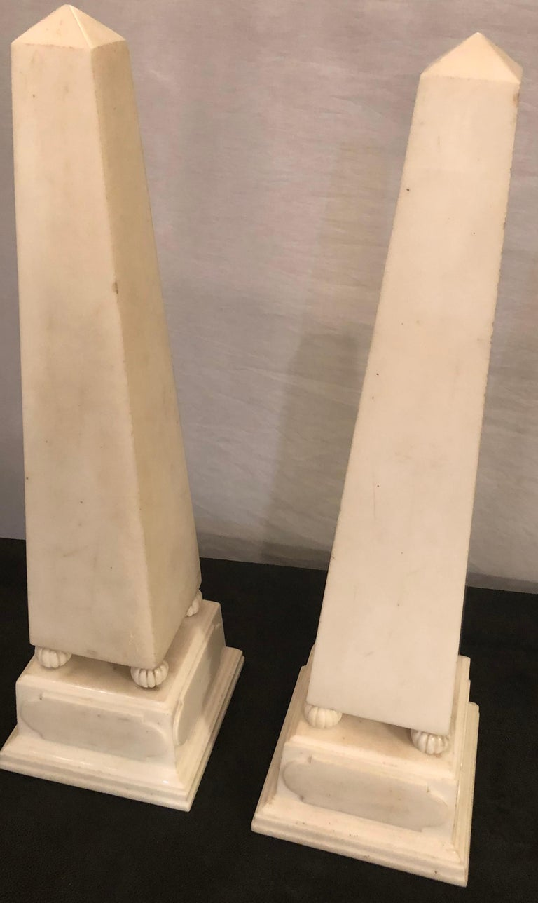French Pair of Large Antique 19th-20th Century Solid Marble Obelisks on Pedestals For Sale