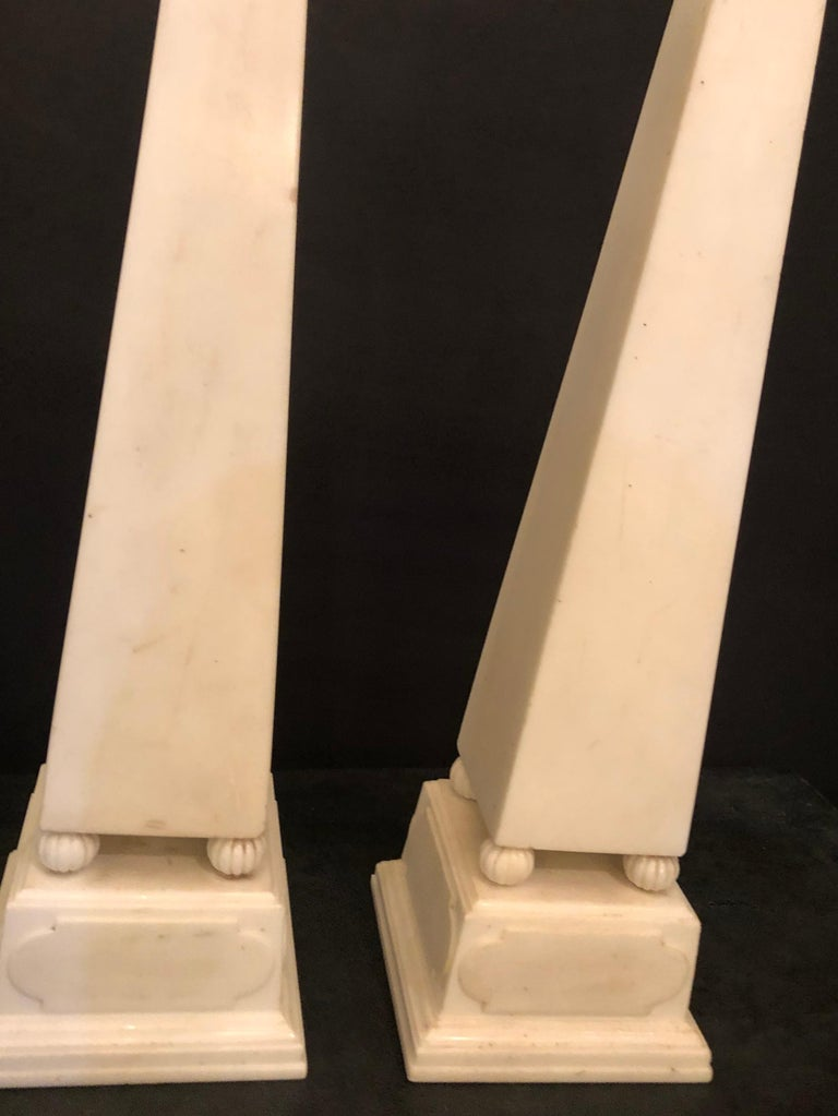 Early 20th Century Pair of Large Antique 19th-20th Century Solid Marble Obelisks on Pedestals For Sale