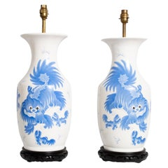 Pair of Large Antique 19th Century Blue and White Dragon Chinese Vase Lamps