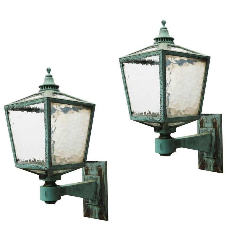 Pair of Large Antique Bronze Exterior Wall Lights, circa ...