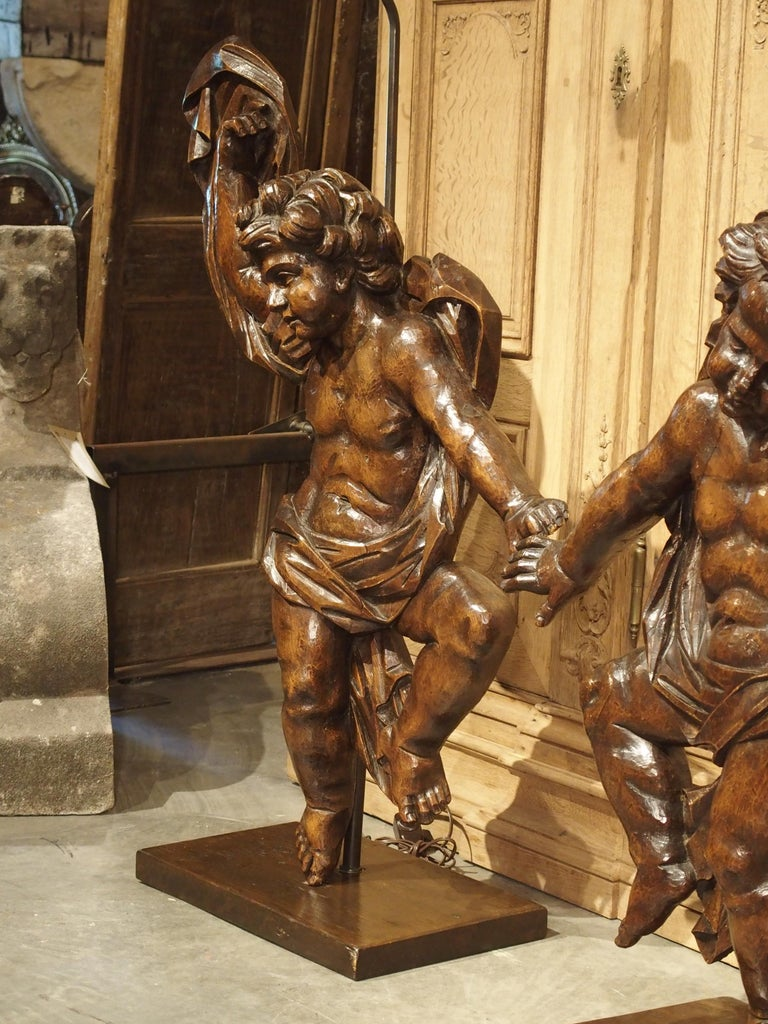 Pair of Large Antique Carved Putti Statues or Lamps from Italy, 18th Century For Sale 12