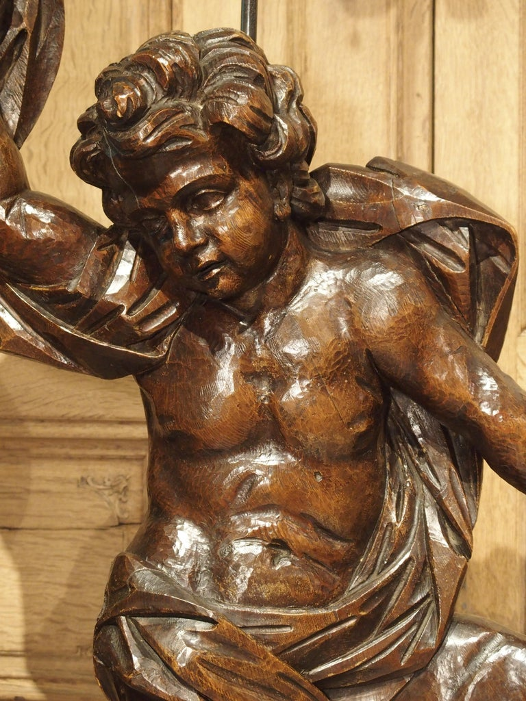 Pair of Large Antique Carved Putti Statues or Lamps from Italy, 18th Century For Sale 3
