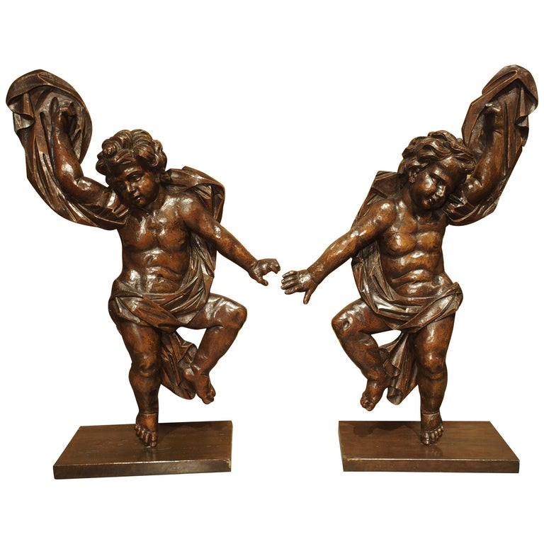 Pair of Large Antique Carved Putti Statues or Lamps from Italy, 18th Century For Sale