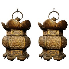 Pair of Large Antique Chinese Chinoiserie Style Gilt Copper Lanterns