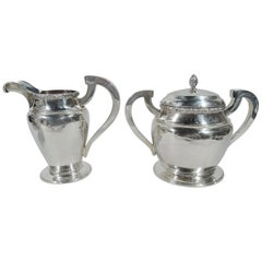 Pair of Large Antique Coin Silver Creamer and Sugar by New York Maker